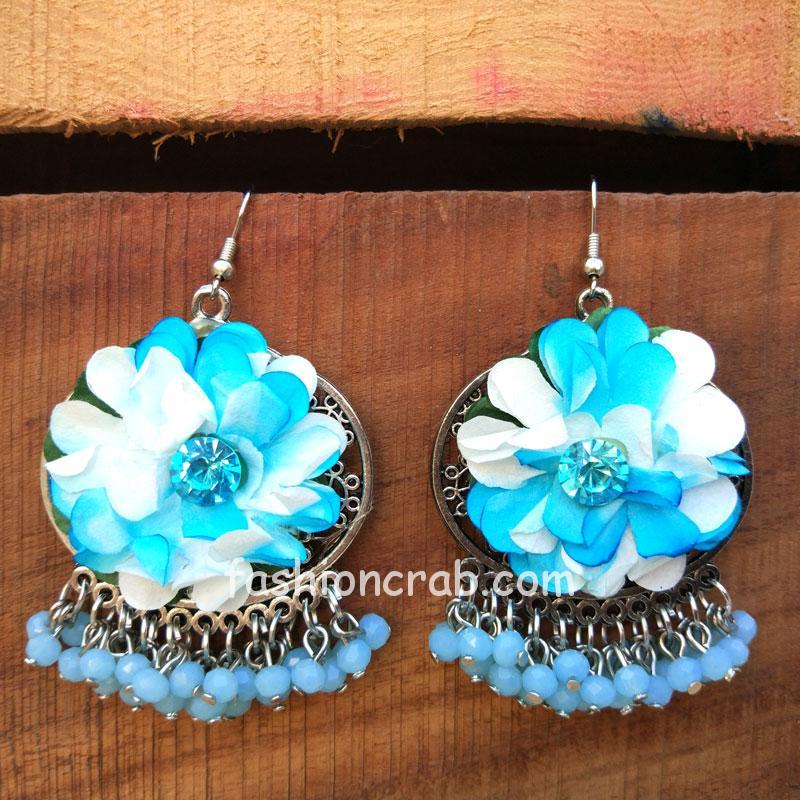Blue Flower Pearl Earrings
