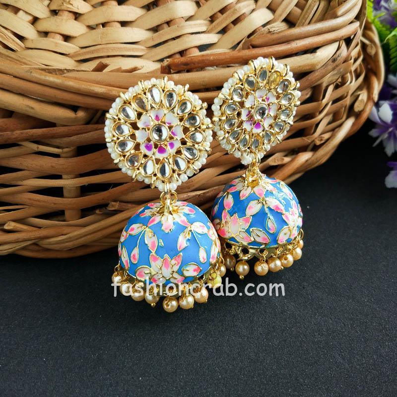 Bollywood Style Dark Blue Jhumka Earring