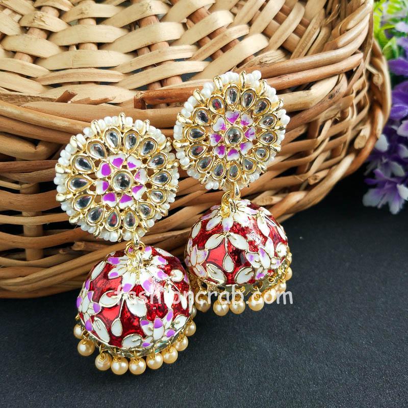 Bollywood Style Indian Maroon Jhumka Earring