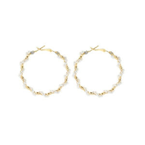 Circular Hoop Earring with Pearl