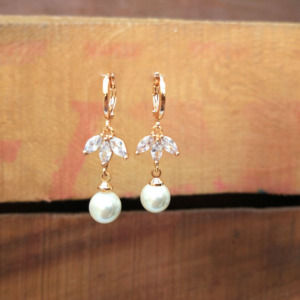 Crystal Leaf Pearl Earrings