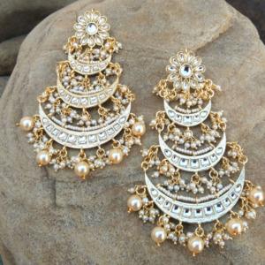 Floral Kundan Chandbali Earring