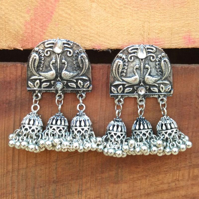 German Silver Ghunghroo Hanging Jhumka Earring