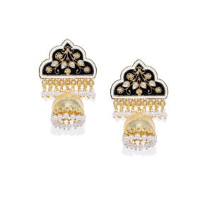 Golden Jhumka with Black Meenakari