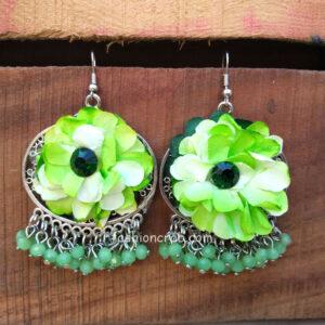 Green Flower Pearl Earrings