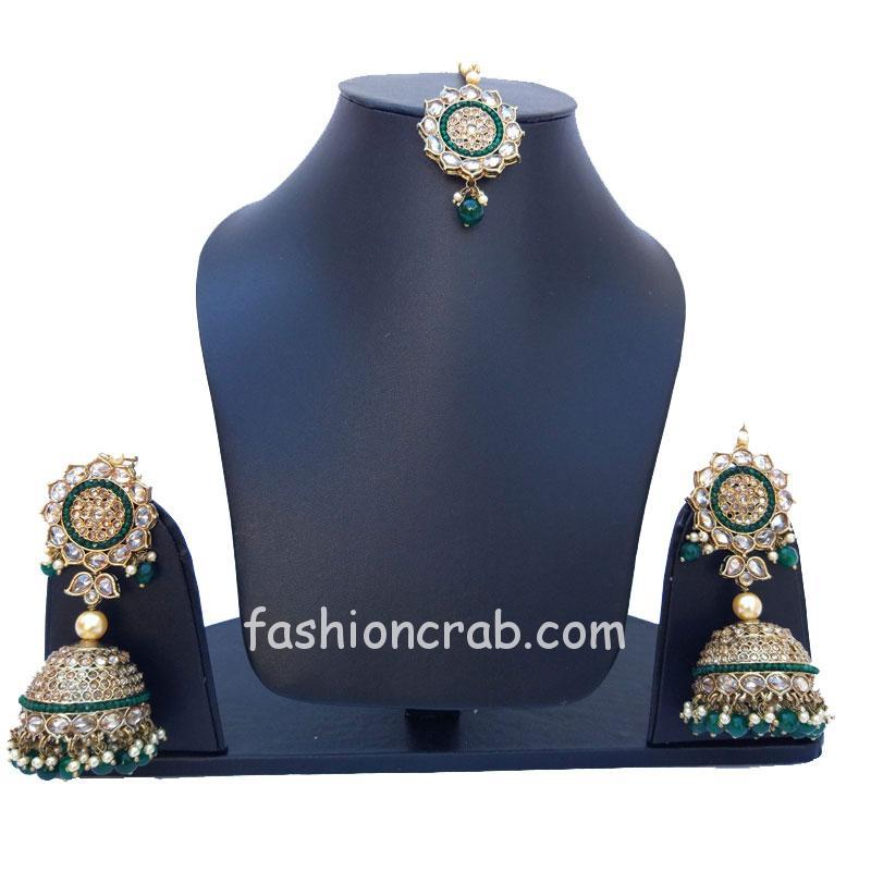 Green Pearl Earrings with Maang Tikka for Bride