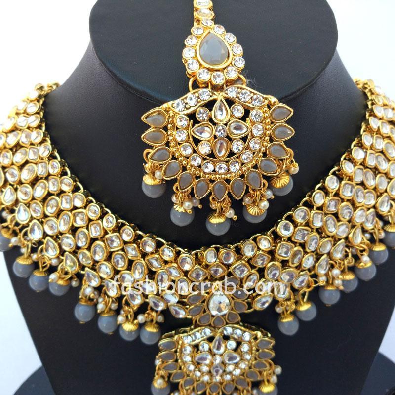 Indian Bridal Wedding Jewelry Set for Grey Lehenga