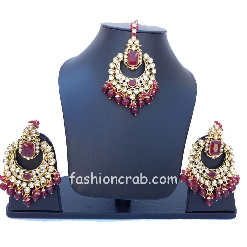 Indian Traditional Bridal Maangtikka with Earring Set