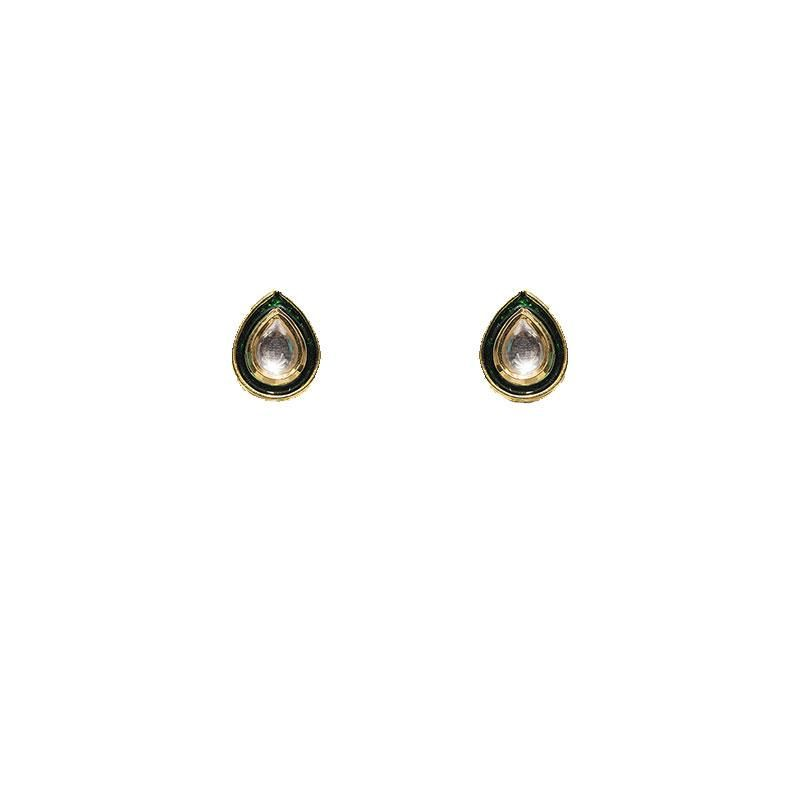 Kundan Green Meena Drop Shaped Stud