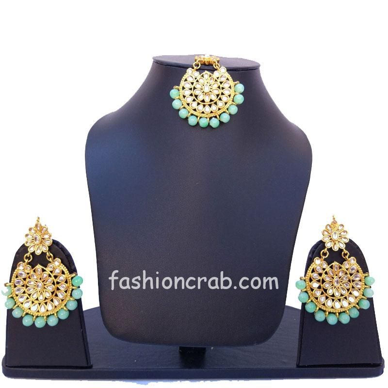 Kundan Maang Tikka with Earring for Green Lehenga