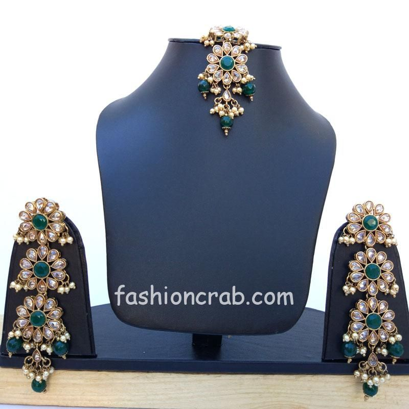 Long Green Pearl Earrings with Maangtikka