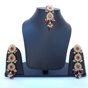 Long Maroon Pearl Earrings with Maangtikka for Saree