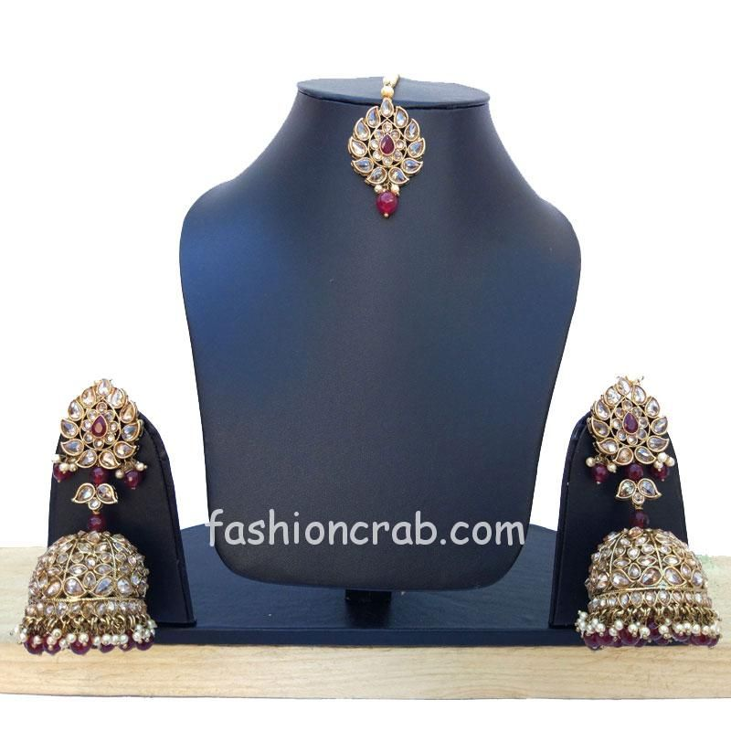 Maroon Jhumka with Maang Tikka for Wedding