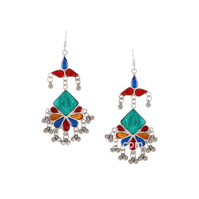 Multi Color Afghani Earrings for Women