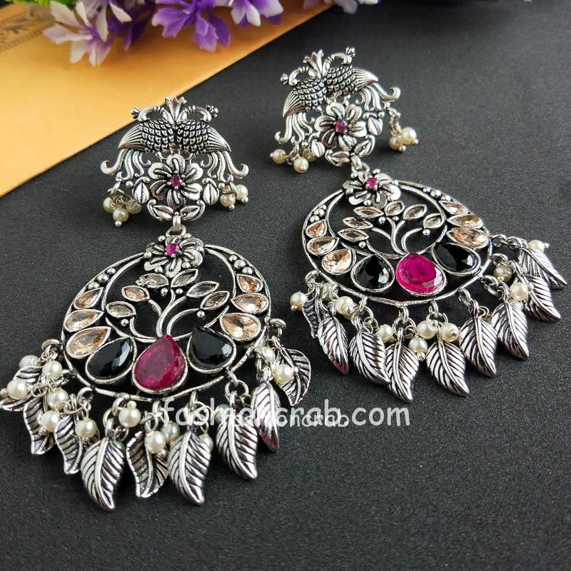 Multicolor Embellised Stones German Silver Earring