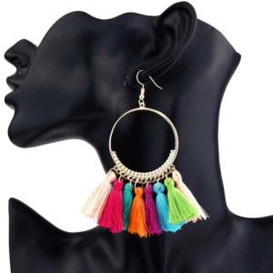 Multicolor Thread Tassel Earring