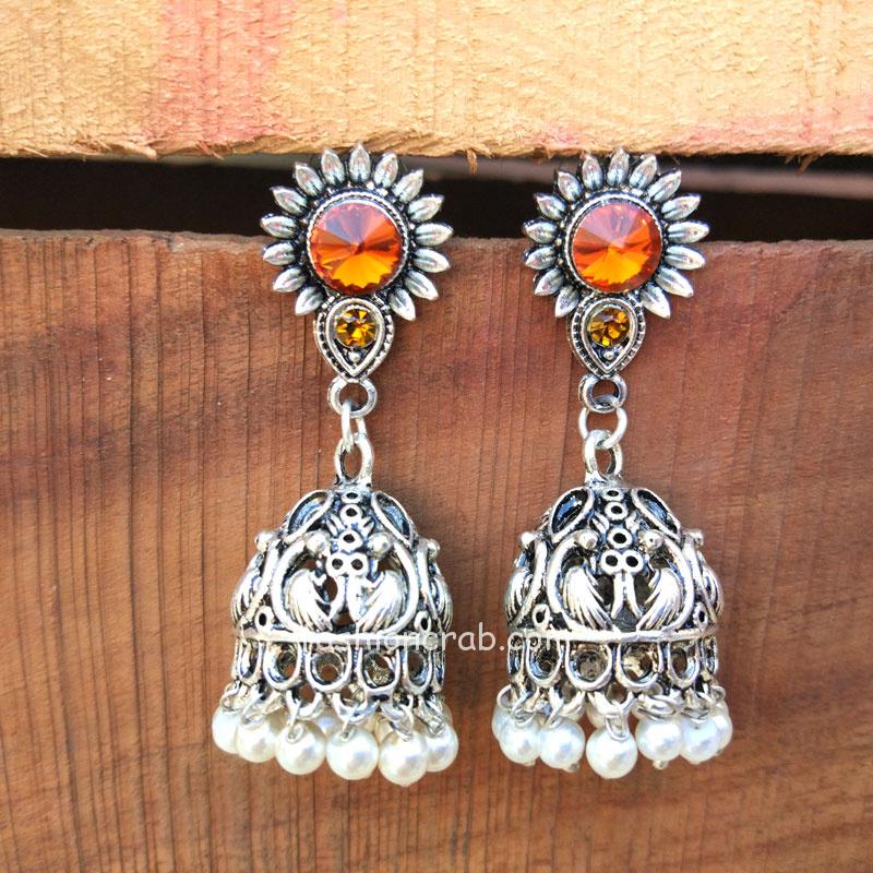 Orange Jhumka Earrings for Women