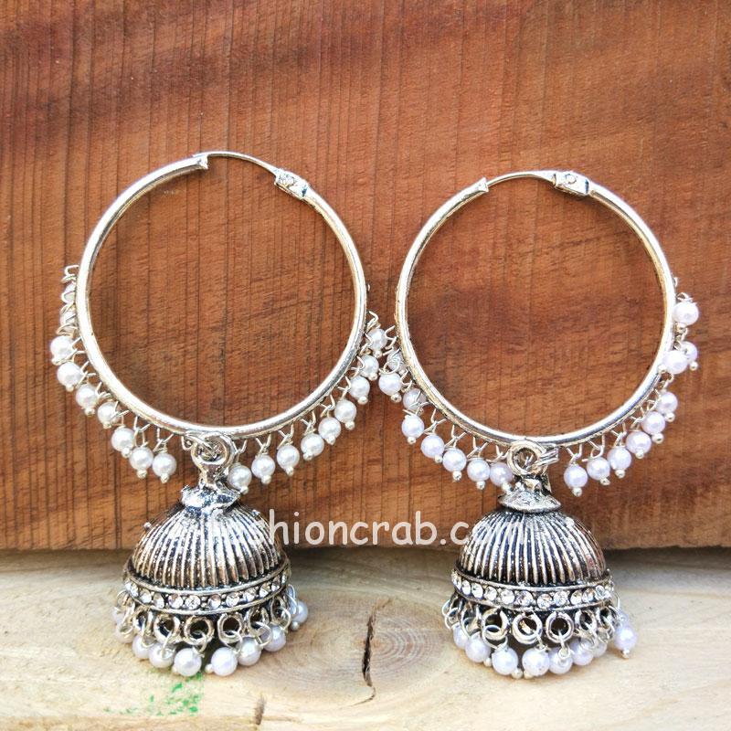 Oxidised Hoop Jhumka Earrings