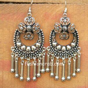 Oxidised Silver Toned Earrings
