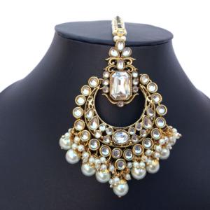 Pearl Earrings with Maang Tikka Set for Women