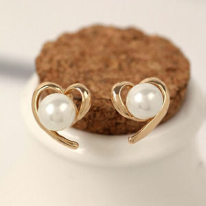 Pearl Studded Heart Studs