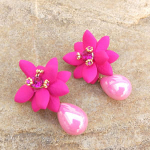 Pink Pearl Flower Earring for College