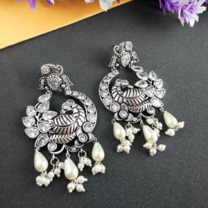 Silver Look Alike Peacock Studded Drop Earring