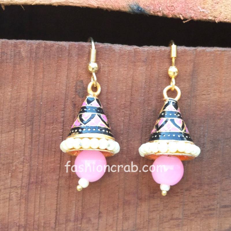 Small Pink Pearl Jhumka Earring