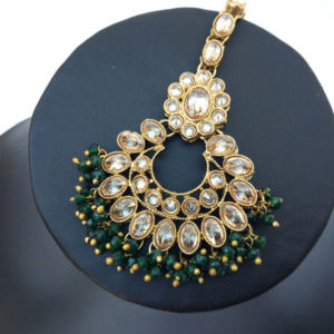 Traditional Green Pearl Earrings with Maang Tikka for Festival