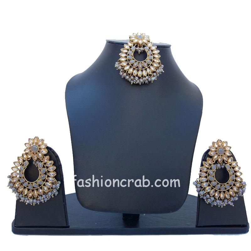 Traditional Grey Earrings with Maang Tikka for Party