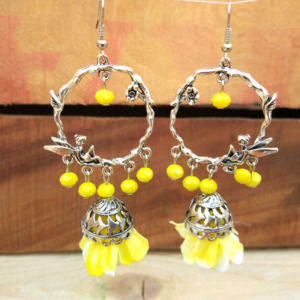 Yellow Flower Jhumka Earring for Sangeet