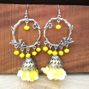 Yellow Flower Jhumka Earring for Sangeet