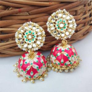 Bollywood Style Dark Pink Jhumka Earring