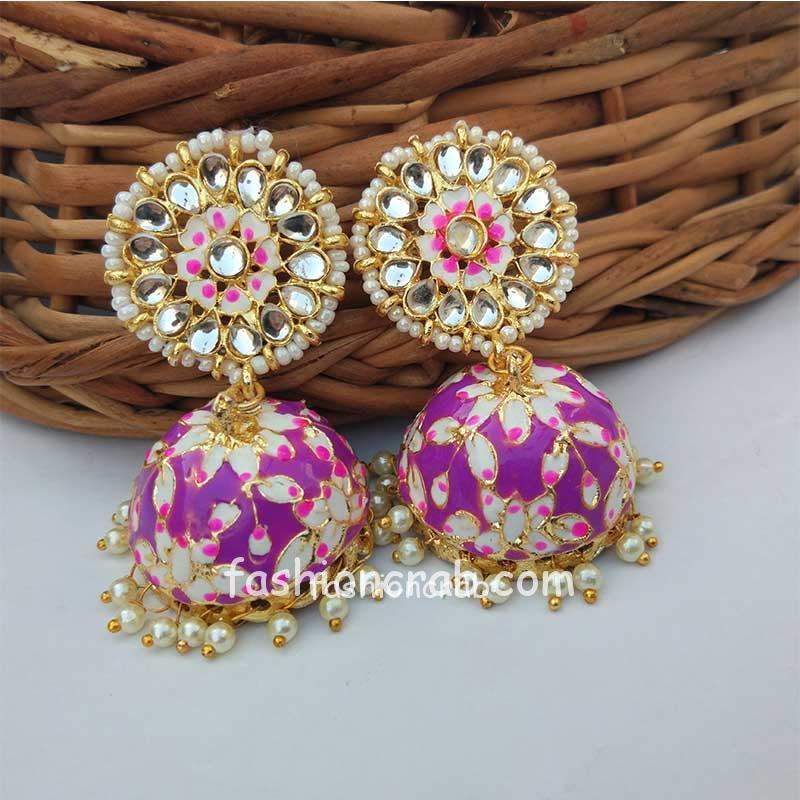 Bollywood Style Meenakari Purple Jhumka Earring