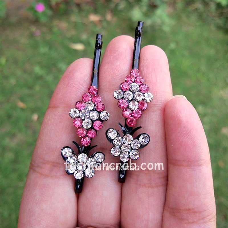 Dark Pink Crystal Hair Pins for Wedding