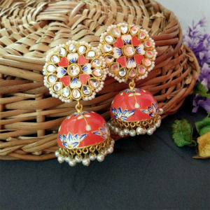 Floral Hand Painted Meenakari Orange Jhumka Earring