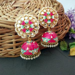 Floral Hand Painted Meenakari Pink Jhumka Earring