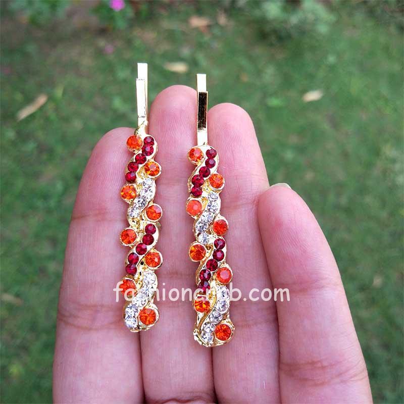 Orange Crystal Hair Pins for Wedding