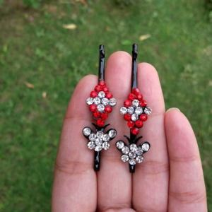 Red Crystal Hair Pins for Wedding
