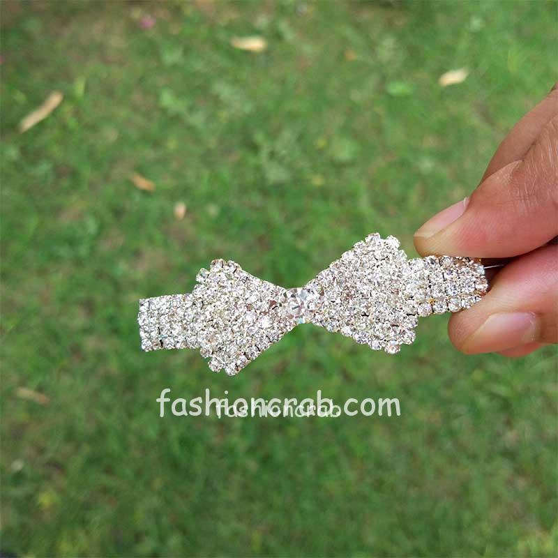 Rhinestone Crystal Bow Shaped Hair Clip