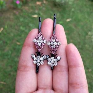 Trendy Light Pink Crystal Hair Pins for Wedding