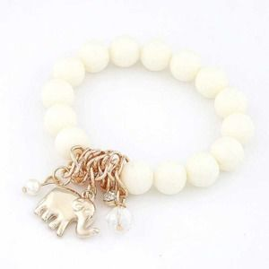 Elephant Pendant Charm White Beads Bracelet
