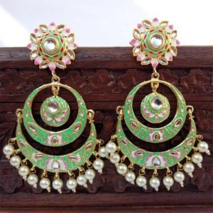 Emerald Green Meenakari Chandbali Earring