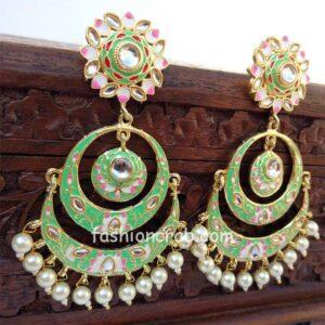 Emerald Green Meenakari Chandbali Earring