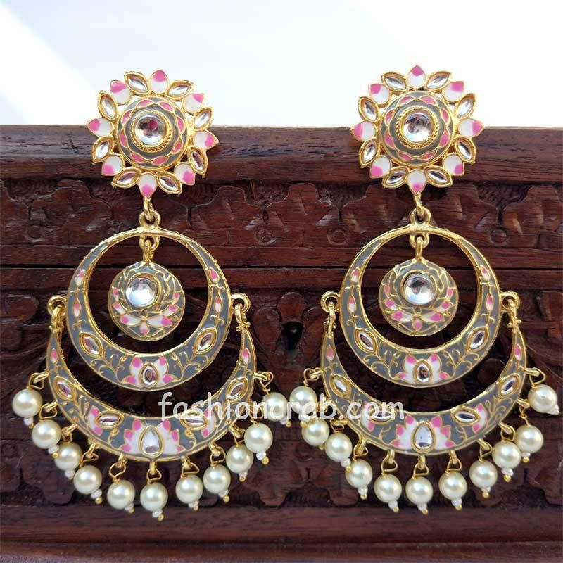 Grey Color Meenakari Chandbali Earring