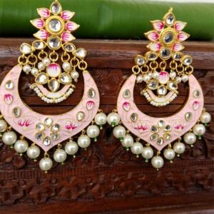 Light Pink Meenakari Chandbali Earrings