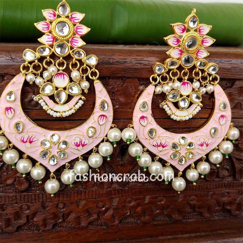 Light Pink Meenakari Chandbali Earrings