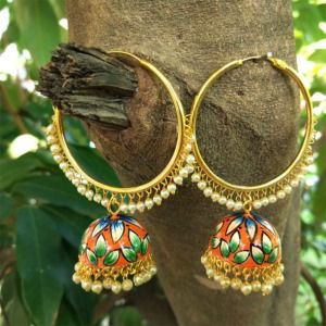 Orange Meenakari Indian Jhumka Earring with Bali