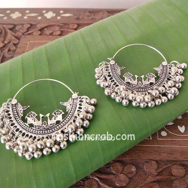 Oxidised Silver Toned Chandbali Earring for Girls