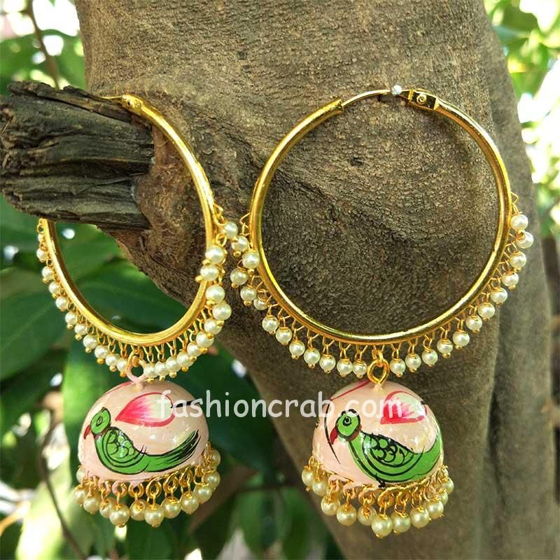 Parrot Embellised Indian Meenakari Jhumka Earring with Bali